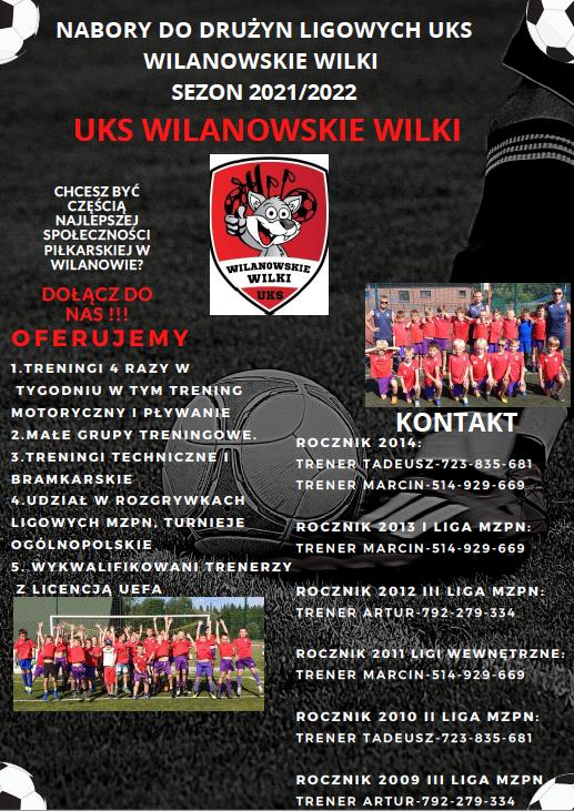 Nabory do drużyn ligowych UKS WILANOWSKIE WILKI